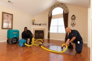 ServiceMaster professionals extracting water from a home